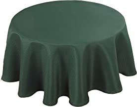 Biscaynebay Textured Fabric Tablecloths, Water Resistant Spill Proof Tablecloths for Dining, Kitchen, Wedding and Parties, Hunter Green 60 Inches Round