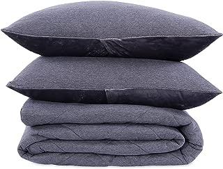 Berkshire Blanket Heathered Jersey Comforter Plush VelvetLoft Reverse Bedding Set, Full/Queen, Castle Rock