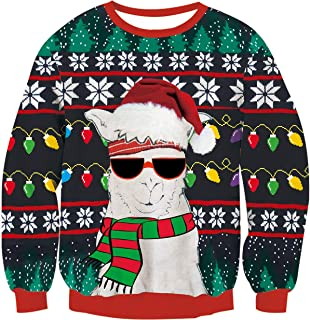 Best Women Men LED Ugly Christmas Sweaters Funny Pullover Long Sleeve Knitted Xmas Sweater Jumper S-XXL Review
