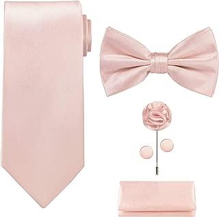 Tie G .5pcs Tie set in a gift box : Tie sets : Solid color Neck tie,Satin Bow tie,Pocket Square, Lapel, Cuffs link