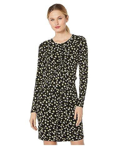 MICHAEL Michael Kors Tossed Lilies Ruffle Dress (Black/Bright Dandelion) Women