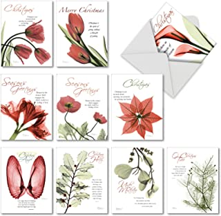Blooming Christmas Spirit - 10 Inspirational Boxed Merry Christmas Cards with Envelopes (4 x 5.12 Inch) - Religious, Heartfelt Happy Holidays Notecard Set - Loving Flowers, Floral Art AM6219XSG-B1x10