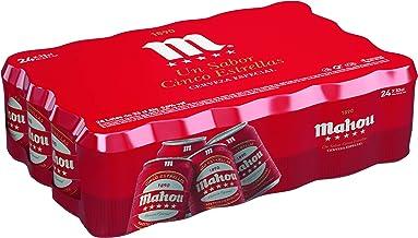 Mahou - 5 Estrellas Cerveza Dorada Lager, 5.5% de Volumen de Alcohol - Pack de 24 x 33 cl