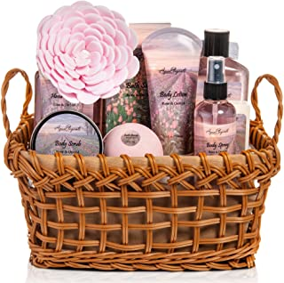 Spa Baskets For Women - Luxury Bath Set With Rose & Orchid - Spa Kit Includes Wash, Bubble Bath, Lotion, Bath Salts, Body Scrub, Body Spray, Shower Puff, Bathbombs, Soap and Towel, Deluxe