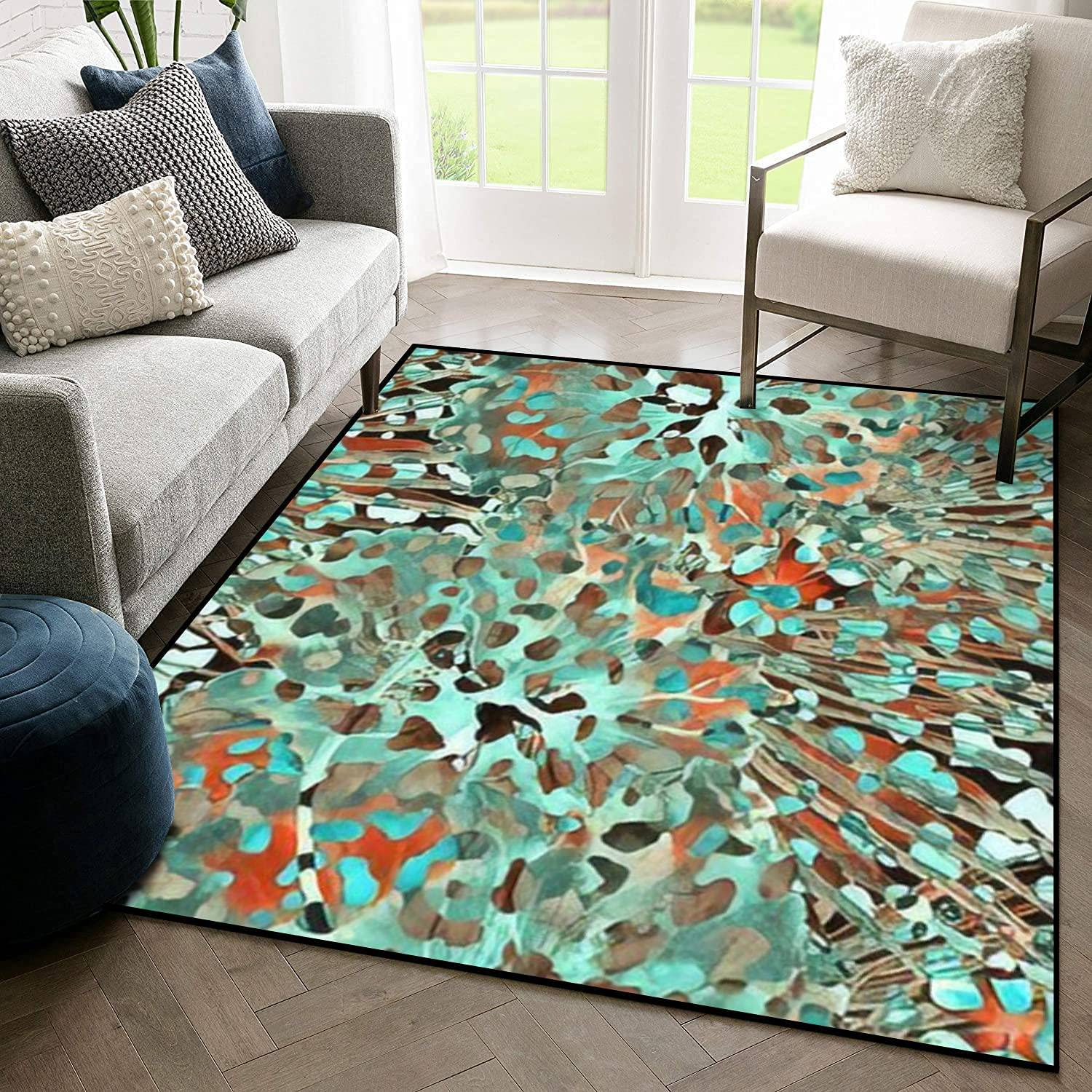 Indoor Outdoor Area Super intense SALE Excellence Soft Rug Leopard Pattern Watercolor Seamless