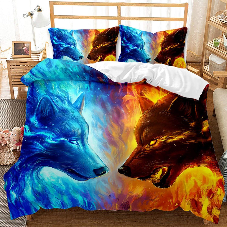 毎日がバーゲンセール 安全 Mollyevers Ice and Fire Wolf Bedding Set Wolves Two Queen Size A