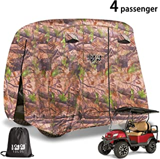10L0L 4 Passenger Outdoor Golf Cart Cover,400D Waterproof Golf Cart Covers with Extra PVC Coating Sunproof fits EZ GO Club Car Yamaha (fits for Most Extended Roof Carts,Up to 112 Inch)