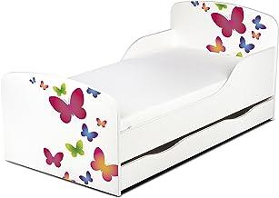 Cama Infantil de Madera 140/70 Cama Para Niños Marco de Cama Colchón y Cajón Cómodo Alta Validad Vuarto de Niños Muebles Para Niños Dormitorio Impresa Mariposas