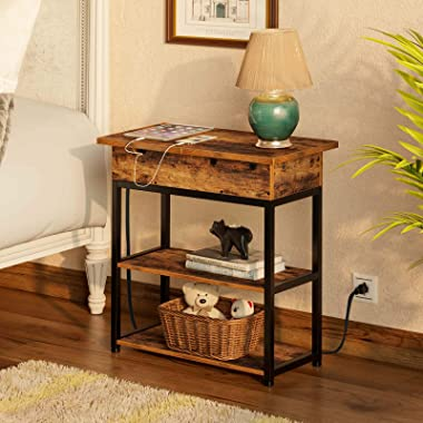 Rolanstar End Table with Charging Station, Narrow Flip Top End Side Table with Storage Shelf and USB Ports & Power Outlet