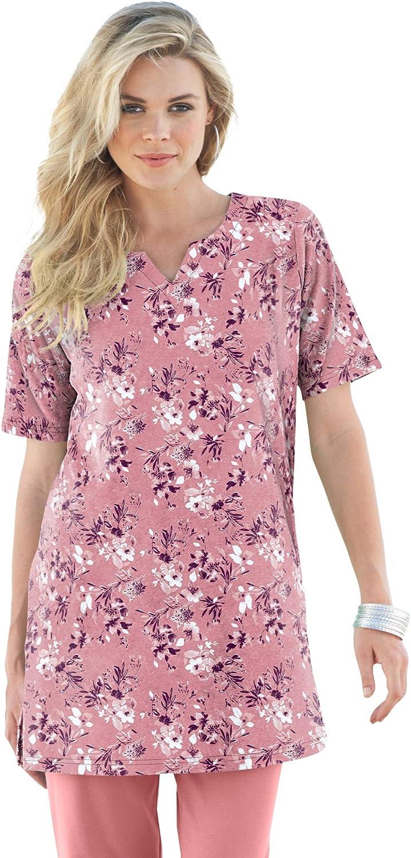 Roaman's Women's Plus Size Print Notch-Neck Soft Knit Tunic Short Sleeve T-Shirt