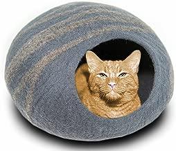 MEOWFIA Premium Felt Cat Bed Cave (Medium) - Handmade 100% Merino Wool Bed for Cats and Kittens
