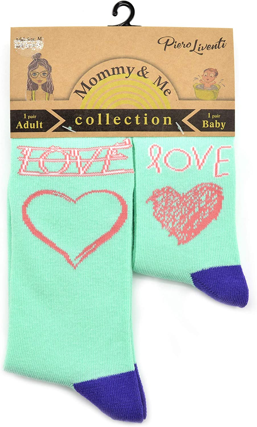Mommy & Me, 2-Pair Matching Sock Set, Learning Love