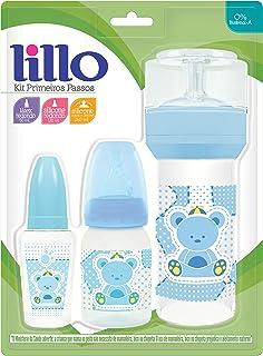Kit de Mamadeiras 50 ml, 120 ml e 260 ml Primeiros Passos, Lillo do Brasil, Azul