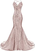 DYS Women's Sequins Mermaid Prom Dress Spaghetti Straps V Neck Backless Gowns