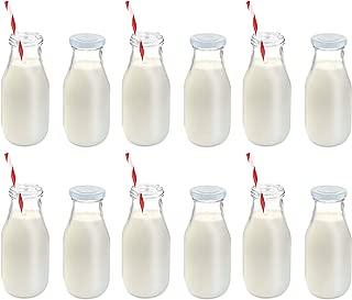 KOVOT 11-Oz Glass Milk Bottle Set of 12 - Includes Reusable Lids and Straws