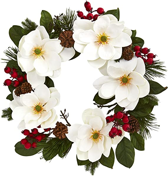 Nearly Natural 26 Magnolia Pine And Berries Wreath White