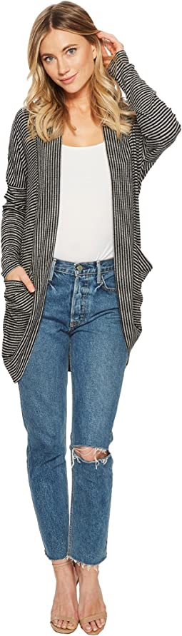 American Rose - Samantha Striped Ribbed Cardigan