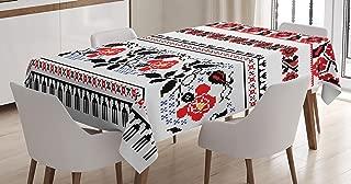 Lunarable Ukrainian Tablecloth, Russian Rushnik Floral Arrangement Eastern European Folklore Ornaments, Dining Room Kitchen Rectangular Table Cover, 60