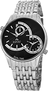 August Steiner Men's Dual Time Dress Watch - Radiant Textured Black Dial with Roman Numerals and 60 Second Subdial on Silv...