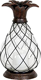 Exhart Pineapple Lantern with Flameless LED Candle, Metal and Glass, Battery Operated, Bronze Finish, 6