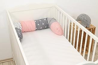 Cojín protector para cuna de ULLENBOOM ®, cojín chichonera en forma de serpiente rosa gris (ideal para proteger al bebé de los barrotes de la cuna o como cojín de apoyo)