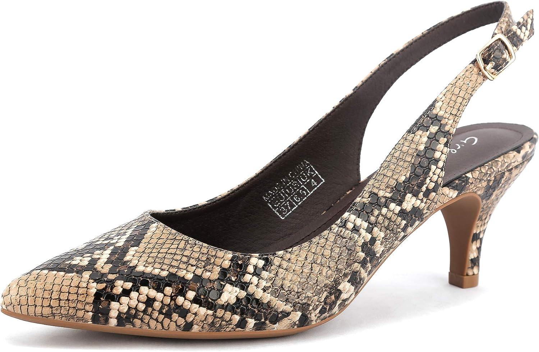 Greatonu Selling and selling Women's Slingback Kitten Heel Shoe Pumps Max 75% OFF Dress