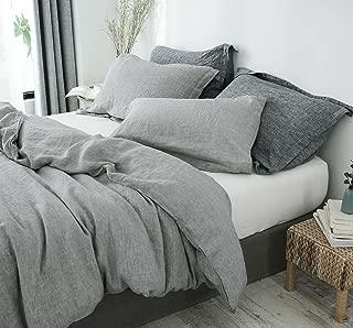 PHF 100% French Linen Duvet Cover Set Queen Size for Winter Light Grey
