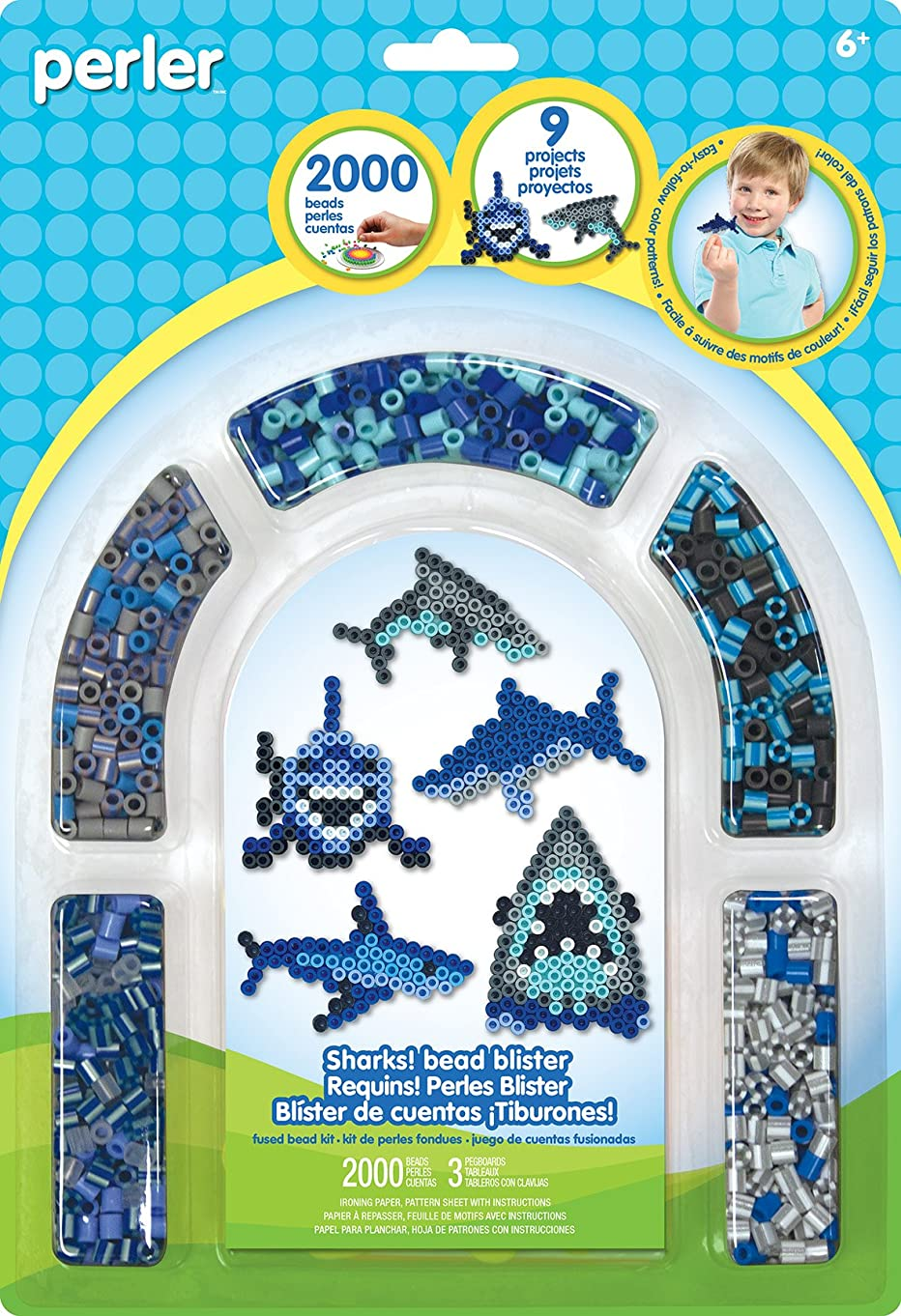 Perler Bead 'Shark' Fuse Bead Activity Kit for Kids Crafts, 2004 pcs