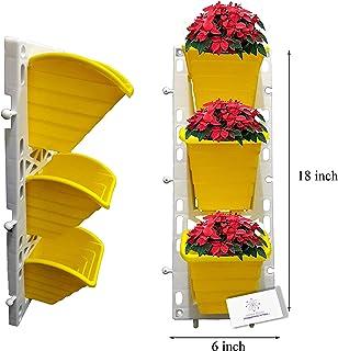 Unique Plastic Vertical Wall Planter (1x3, Yellow)