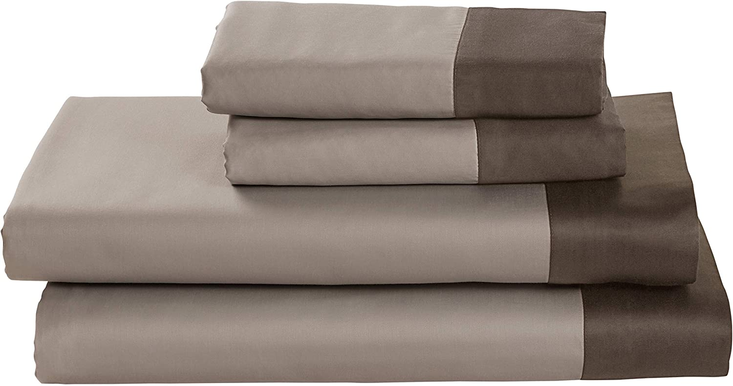 Rivet color Block 100% Supima Cotton Sheet Set, Full, Walnut Mushroom