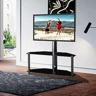 Romatlink Tv Stand Mount,Tv Stands Flat Screens,with LCD Tv Bracket Angle Adjustable Plasma Tv Bracket 2 Tier Tempered Glass Shelves for Multiple Media Devices Black.