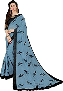 Manohari Women's Georgette Saree with Blouse Piece