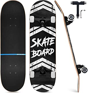 """Upgraded Skateboards for Beginners, 31""""x8"""" Complete Skateboard for Kids Teens & Adults, 7 Layer Canadian Maple Wood Double Kick Deck Concave Standard and Tricks Skateboard with All-in-1 Skate T-Tool"""