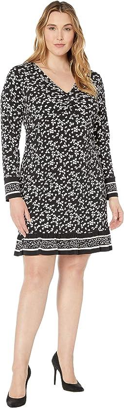Plus Size Dancing Petal Twist Neck Border Dress