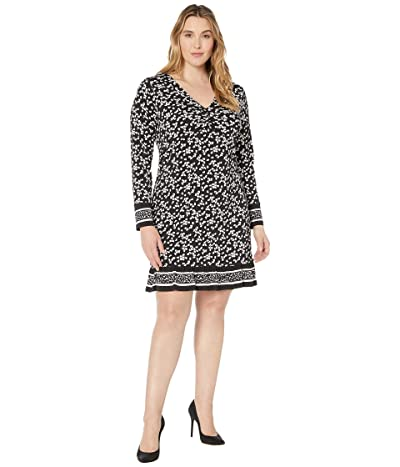MICHAEL Michael Kors Plus Size Dancing Petal Twist Neck Border Dress (Black) Women
