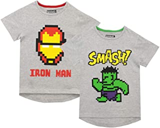 Marvel Pack de Dos Camisetas de Manga Corta para niños Iron Man y Hulk
