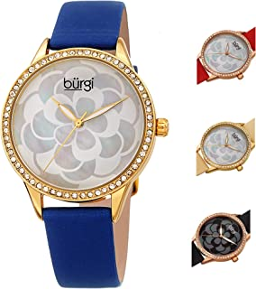 Burgi Women's Quartz Watch, Analog Display and Leather Strap Bur203Bu, Blue Band