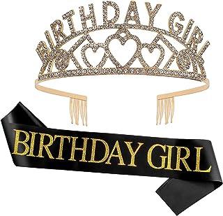 Semato Birthday Sash and Rhinestone Tiara Kit— Gold Birthday Crown and sash Birthday Decorations for Girls Birthday Party ...