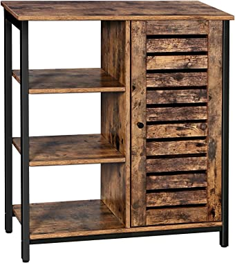 VASAGLE LOWELL Storage Cabinet, Cupboard, Multipurpose Cabinet, 3 Open Shelves and Closed Compartments, for Kitchen, Living R