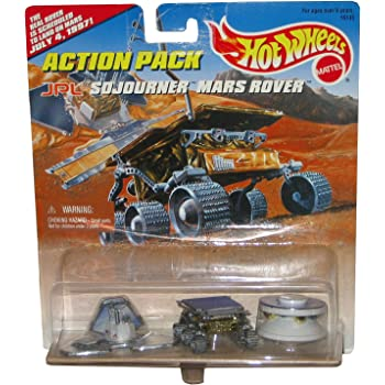 """Hot Wheels JPL Sojourner Mars Rover Action Pack with The Real Rover is Schuduled to Land On Mars July 4, 1997!"""" Limited Edition 1:64 Scale Die Cast Play Set"""