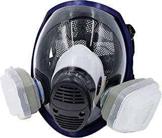 WiseLime Organic Full Face Respirator Mask for Chemicals, Smoke, Paint Spray and Tear Gas | Comes with 2 Filters (Gas Mask + 1 Pair of #3 Filter Cartridges)