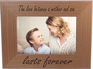 The Love Between A Mother and Son Lasts Forever 4x6 Inch Wood Picture Frame - Great Gift for Mother's Day, Birthday or Christmas Gift for Mom Grandma Wife Grandmother