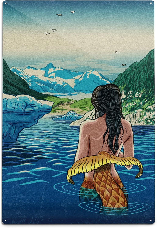 Lantern Press Mermaid and Glaciers Aluminum 12x18 Sign Wa Inexpensive Popularity Wall