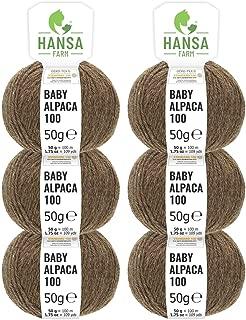 HANSA-FARM 100% Lana de Alpaca en más de 50 Colores (no Pica) - Set de 300g (6X 50g) - Suave Hilo Baby de Alpaca para Punto y Ganchillo en 6 grosores marrón