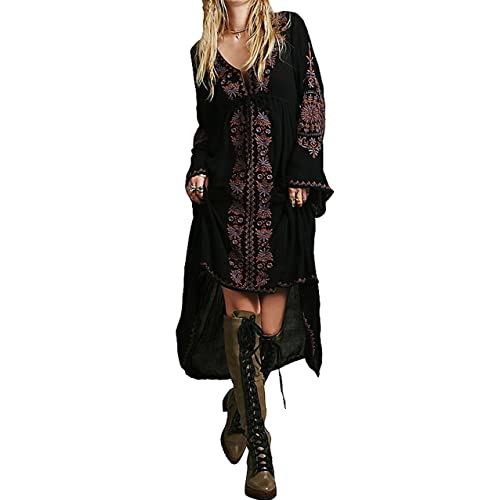 70e38aaec R.Vivimos Womens Cotton Embroidered High Low Long Dresses