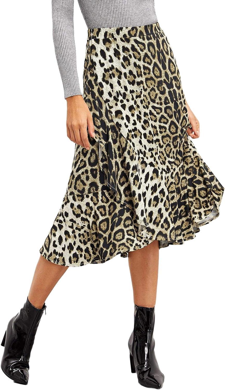 WDIRARA Women's Casual Leopard Print Ruffle Trim A Line Midi Skirt