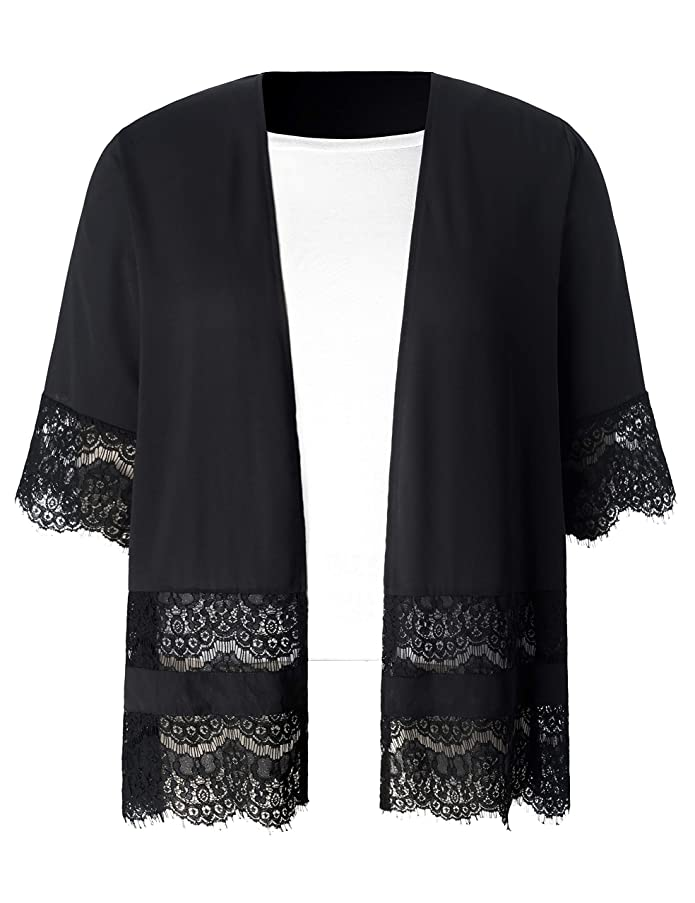 Chicwe Women's Plus Size Lace Trimmed Black Chiffon Shirttail Kimono Cover Up