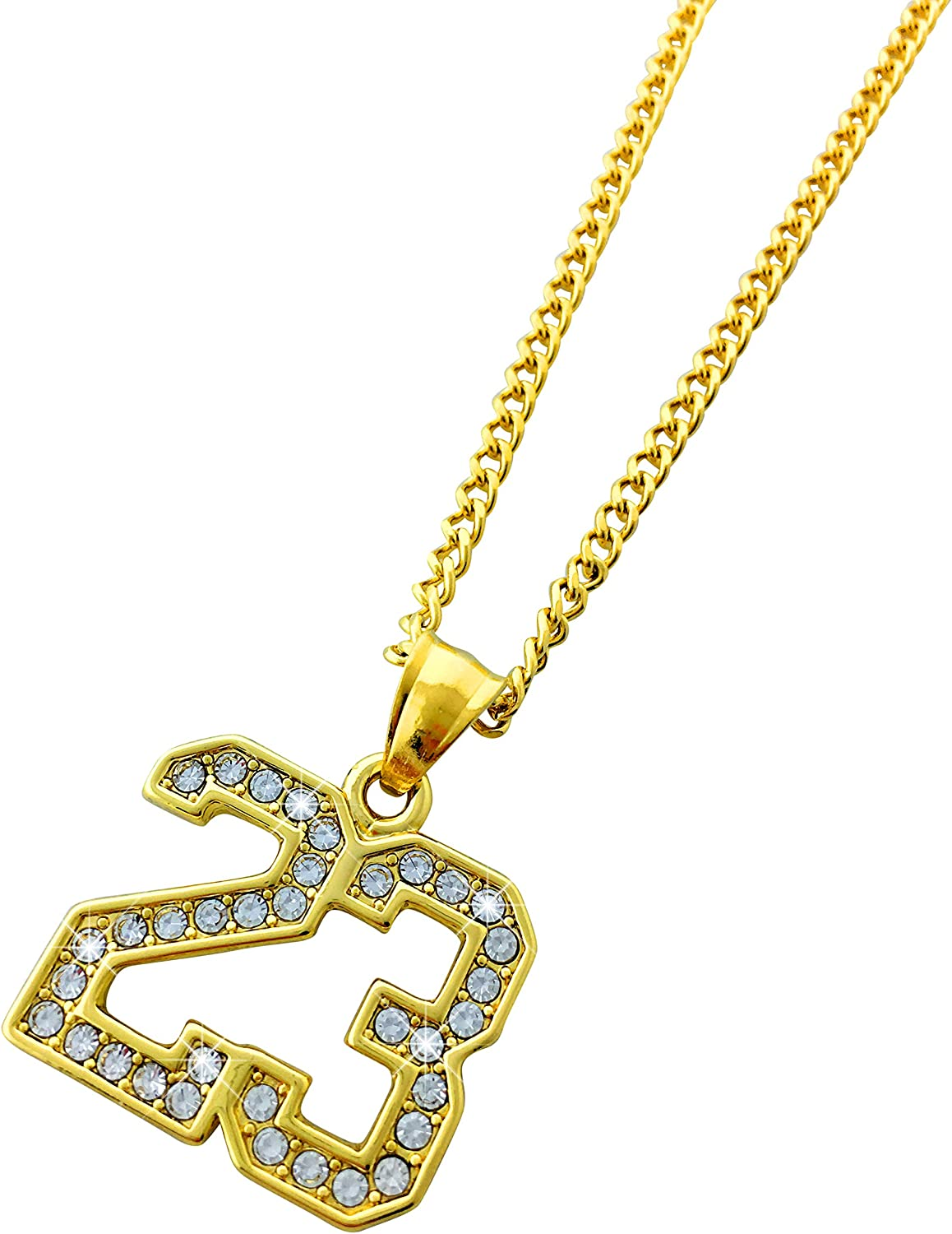 Exo Jewel 18k Gold Plated Gold Diamond Number 23 Pendant Stainless Steel Necklace with 24