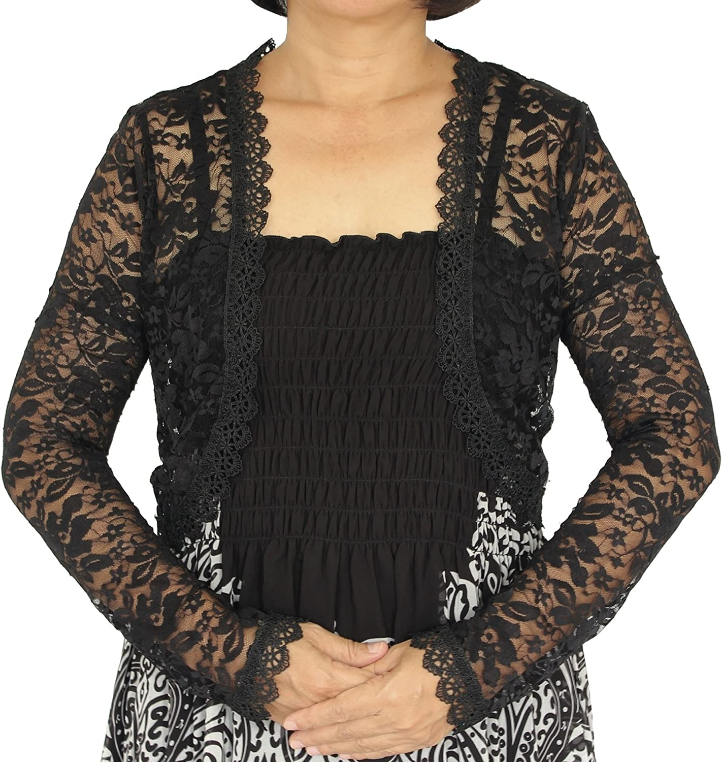 Women Lace Shrug Long Sleeve Open Front Cardigan Sweater Lightweight Arm Cover