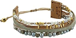 Chan Luu - 18 Karat Gold Plated Mix Adjustable Bracelet with Velvet Leather and Semi Precious Stones